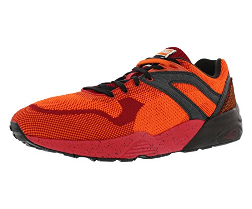 PUMA Mens R698 Knit Mesh Splatter Running Casual Shoes, Red, 5