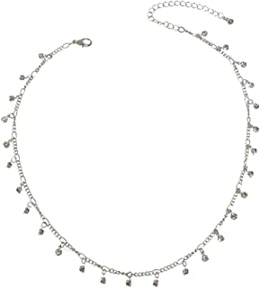 Bling Rhinestone Sparkly Choker Shining Drop Crystals Necklace Party Jewellery (Silver)