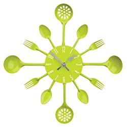 Premier Housewares Cutlery Wall Clock - Lime Green