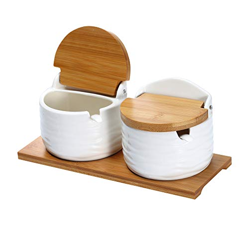 Ceramic Sugar Bowl with Lids and Spoons-Porcelain Condiment Containers Spice Jar, Salt Container for Kitchen, with Chalkboard Labels, 8.8 fl oz