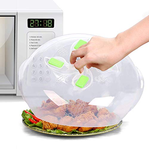 Microwave Plate Cover - Magnetic Hover Function   Microwave Lid Food Cover   Magnetic Microwave Splatter Lid with Steam Vents   11.8 Inch & BPA-Free