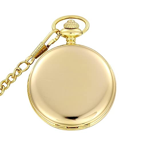 SSJIA Steampunk Pocket Watch Men with Nacklace Chain Quartz Watches Mens Womens-Gold