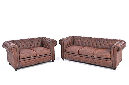 Original Chesterfield Sofa und Sessel - 1/2 Sitzer