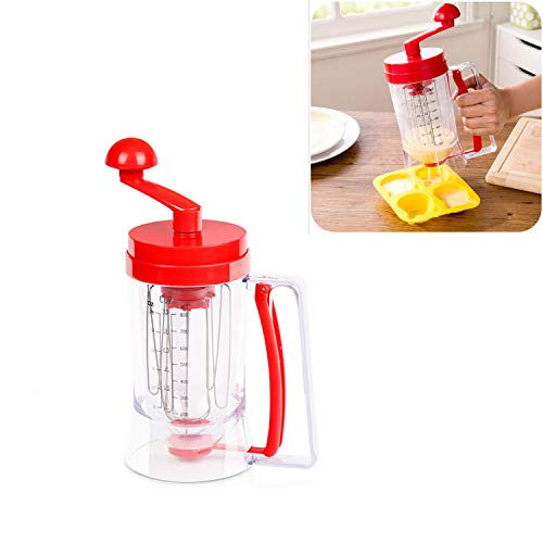 Buwico Pancake Batter Dispenser with Hand-Crank Whisk Lid, Manual...