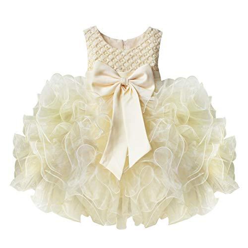IEFIEL Vestido de Fiesta Boda Bautizo Comunion para Bebé Niña (3 Meses-4 Años) Vestido en Tutu de Vestido Princesa Elegante sin Mangas Verano Beige 9-12 meses