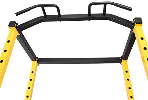 Product Image 3: HulkFit 1000-Pound Capacity Multi-Function Adjustable Power Cage with J-Hooks and Dip Bars, Power Cage Only, Yellow