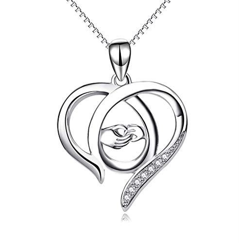 pyongjie Collar de Mujer S Joyas Colgante de Plata de Ley 925 con Incrustaciones de Diamantes Collar Grande de Amor de Mano en Mano Regalo del día de la Madre