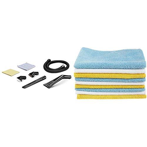 Kärcher 2.863-225.0 Autoinnenreinigungs-Set & AmazonBasics – Mikrofaser-Reinigungstücher, 12 Stück