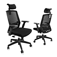【Ergonomic Office Chair】The ergonomic chair provides 4 supporting points(head/ back/ hips/ hands) and a proper lumbar support. You can adjust the headrest height and angle; the lumbar support height; the armrest height, direction and distance from se...