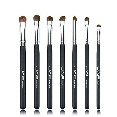 Pinceaux de maquillage Classique 7 pcs Brosses for Maquillage 100% Naturel Animal Cheval Poney Cheveux Maquillage Des Yeux Brush Set JE07PY Brosses et outils de maquillage des yeux (Color : Black)