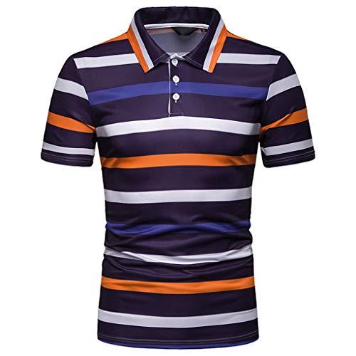 CICIYONER Polo Shirts Herren Poloshirts Sommer Tshirts Kurzarmshirts Streifen Malerei Große Größe Casual Top Bluse M L XL XXL