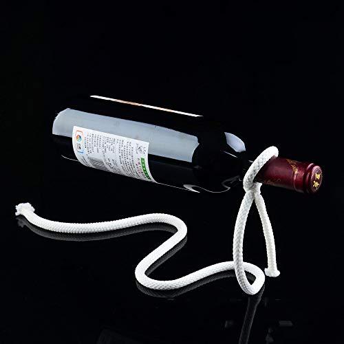 Lasso soporte para botella de vino, cuerda mágica Shineus soporte para botella de vino flotante soporte para hogar cocina Bar accesorios decoración (blanco)