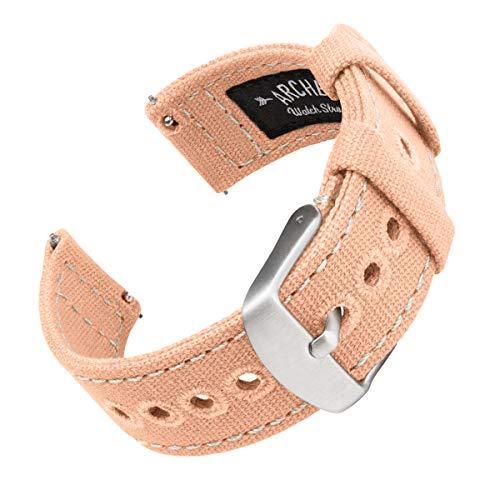 Archer Watch Straps | Cinturini Ricambio da Polso a Sgancio Rapido in Tela per Orologi e Smartwatch, Uomini e Donne (Rosa Corallo, 22mm)