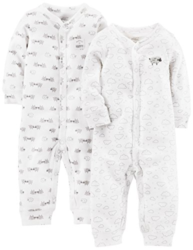 Simple Joys by Carter's 2-Pack Neutral Cotton Footless Sleep and Play Infant Toddler-Rompers, White Lamb, Preemie