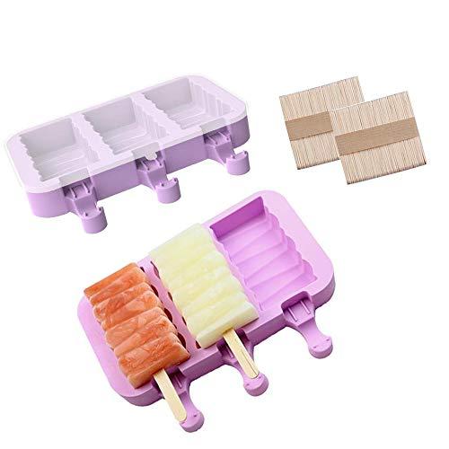 Popsicle - Moldes de silicona con tapa para helado, 3 cavidades de silicona con 100 varillas de madera, juego de 2 unidades (morado)