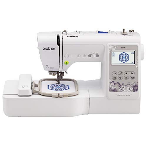 Brother SE600 Sewing and Embroidery Machine, 80 Designs, 103 Built-In Stitches, Computerized, 4' x 4' Hoop Area, 3.2' LCD Touchscreen Display, 7 Included Feet