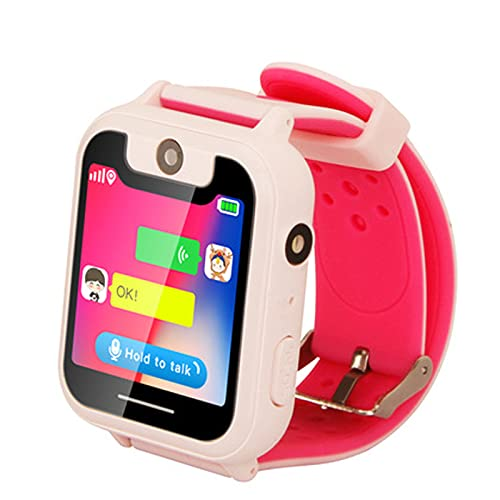Reloj Inteligente Smartwatch Pulsera Inteligente Niño Llamadas Tocar Fotografía GPS Posicionamiento Número de Teléfono,Pink