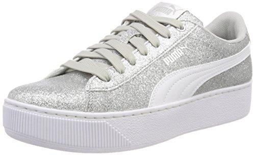 PUMA Vikky Platform Glitz JR Sneaker, Silber Silver White-Gray Violet 03, 38 EU