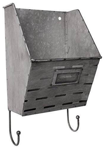 Galvanized Metal Wall Pocket with Hooks - 13 x 7 Inches