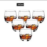 誕生日、クリスマスのためのウイスキーワイングラスウイスキーグラス340ミリリットルウイスキータンブラービールジョッキパーティーバー・クラブバー用の器物ジュース水を飲むカップ (Color : 340ml, Size : 6 pcs)