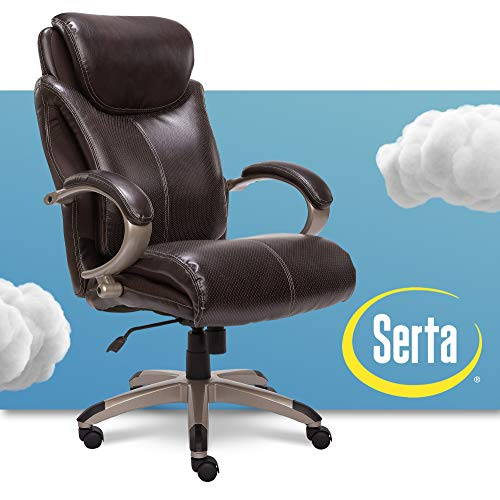 Serta Big and Tall Executive Office Chair with AIR Technology and Ergonomically Layered Body Pillows, Supports up to 350 Pounds, Bonded Leather, Roasted Chestnut