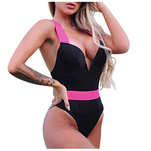 YANFANG Traje de baño de una Pieza con Cuello en V Profundo para Mujer Bikini Push-Up Bañarse,Traje de baño brasileño Biquini Monokini Bikini Set