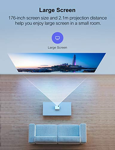 Crosstour Projector Portable Mini Projector Support Full HD 1080P 55000 Hours LED Lamp Life Home Cinema Compatible with Surround Sound USB MicroSD VGA PC PS4(HDMI/AV Cable Included)