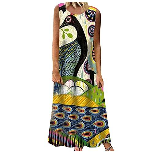 Damen O-Ausschnitt Kleid Langarm Elegante Vintage Lässig Maxi Kleid Druck Cocktail Abendkleid Damenkleid mit Blumenmuster und Rundhalsausschnitt, langem Rock, Heimklei