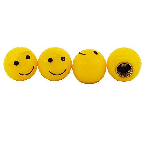 Smiley Reifen Ventilkappen Gelb Rund Auto LKW Motorrad Fahrrad einfache Montage 4 Stück Set Eintragung Frei