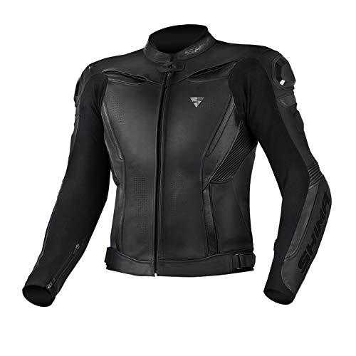 Shima Chase - Chaqueta protectora de piel para motocicleta (48-60) (52, color negro)