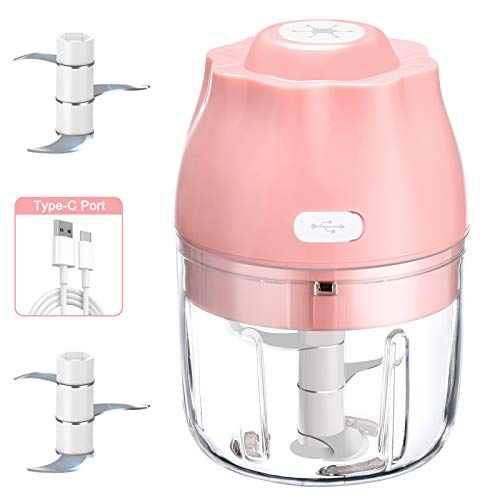 Electric Mini Food Chopper, Garlic Press With USB Charging, Vegetable and Garlic Mincer, Mini Food Processor For Onions/Chili/Meat/Nuts/Ginger/Baby Food -250ML(Pink)