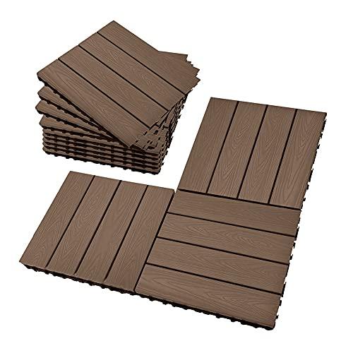 Deck Tiles, Interlocking Patio Flooring Tiles, Indoor Outdoor Deck and Patio Flooring Wood-Plastic Material Composite Tile, Coffee, 12 x 12 Inch