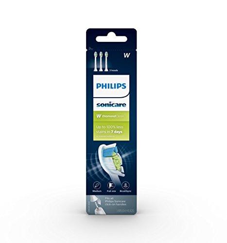 Philips Sonicare DiamondClean Replacement Toothbrush Heads, HX6063/65, BrushSync Technology, White 3 pk