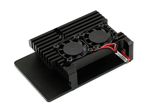 Waveshare Aluminium Alloy Case for Raspberry Pi 4 Model B Black Armour Dual Cooling Fans Built-in Heat Spreader Non-Shielding Design