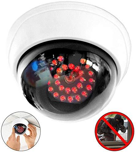 Camera dummy met 25 rode leds IR stalen dummy met lens bewakingscamera fake camera bedrieglijk echt voor muur plafond wit