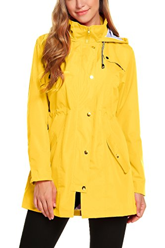 ZHENWEI Womens Lightweight Hooded Waterproof Active Outdoor Rain Jacket