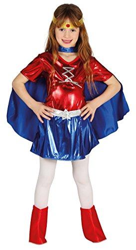 Guirca-87468 Costume Wonder Woman Bimba 7/9 Anni, Blu e Rosso, Talla 7-9 años, 87468