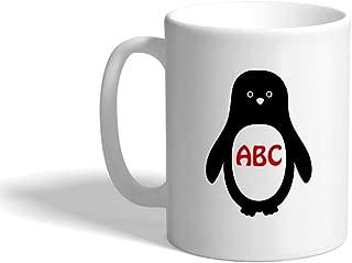 Custom Coffee Mug 11 Ounces Personalized Monogram Penguin Aqua A Ceramic Tea Cup White