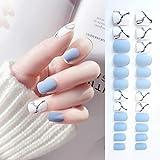 Sethexy Puntas de uñas de grano mate White & Bule Medium Diseño de arte de portada completa 24 piezas Uñas postizas para mujeres y niñas
