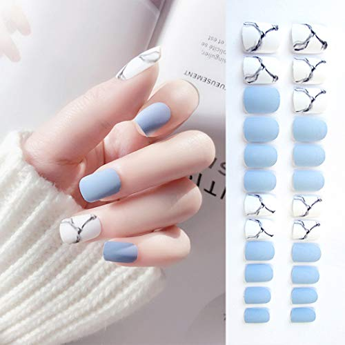 Sethexy Puntas de uñas de grano mate White & Bule Medium Diseño de arte de portada...
