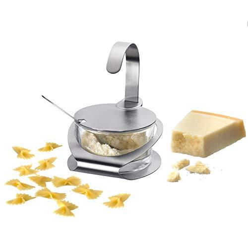 Westmark Parmesan-/Zuckertopf mit passendem Ständer und Löffel, 4-tlg., Fassungsvermögen je 150 ml, Rostfreier Edelstahl/Glas, Wien, Silber/Transparent, 65112260