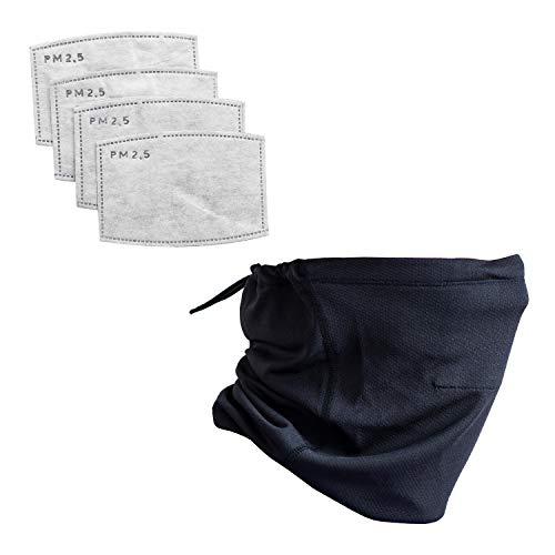 Matek Gaiter Face Cover - Designer Lightweight Neck Gaiter with Safety Defense Filters for Men, Women, and Kids, Black