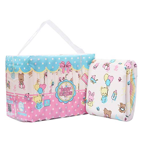 LittleForBig gedruckt Erwachsenen Slip Windeln Erwachsene Baby Windel Liebhaber ABDL 10 Stück-Baby Cuties L