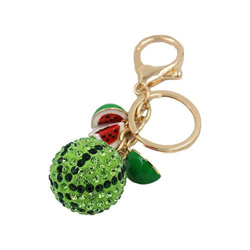 CINRA Shiny Crystal Watermelon Pendant Car Key Chain Key Jewelry Keyring Fashion Trinket Souvenir Christmas Gift Key Holder Key Finder Bag Decorations