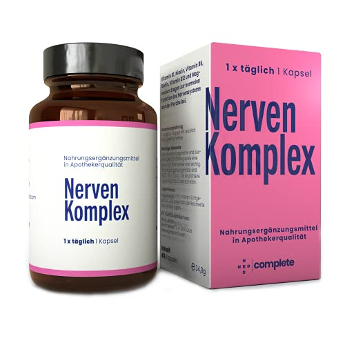 NERVEN KOMPLEX Kapseln   Durchdachte hochdosierte Vitamin B Komplex Rezeptur mit Pflanzen-Extrakten und Magnesium   100{a0f6b6ab92af7ab6ed2a7f7dcd6ad84d1eb8660ebb7a95fcc6aaca9d891797e3} vegane Kapseln in Apothekerqualität   Gegen Stress und für erholsamen Schlaf