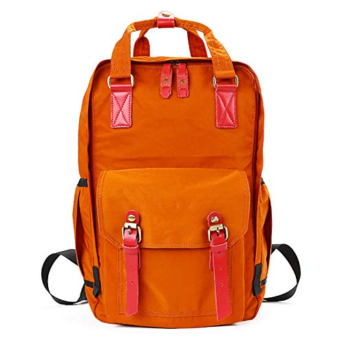 JOMSK Mochila para niñas Mochila Ligera Impermeable de la Escuela 18'Bolsa de Viaje universitaria para Mujeres para Mujer Laptop de 14 Pulgadas para Estudiante (Color : Orange, Size : 18inch)