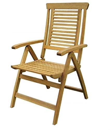 Gartenstuhl Holzstuhl Klappstuhl Klappbar Sessel Armlehnen Holz 110 x 63 x 55 cm (Akazie #E06751)