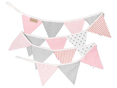 KraftKids Stoff-Wimpelkette rosa grau weiss, handgemachte Wimpel-Girlande aus Baumwolle