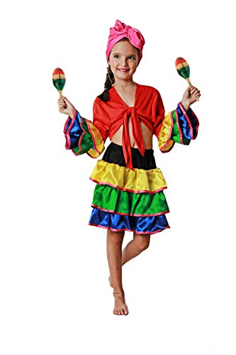 Costumizate! Disfraz de Brasileña Talla 7-9 Especial para niños Fiestas de Disfraces o Carnaval