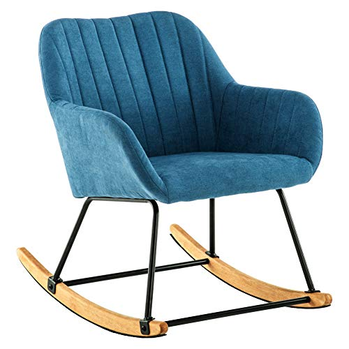 INMOZATA Rocking Chair Comfortable Linen Fabric Recliner Relaxing Chair Relax Lounge Chair with Soft Cushion for Bedroom Living Room Nursery Chair (Blue)